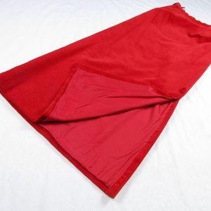 Vintage 1960's Red Corduroy Christmas Maxi Skirt S